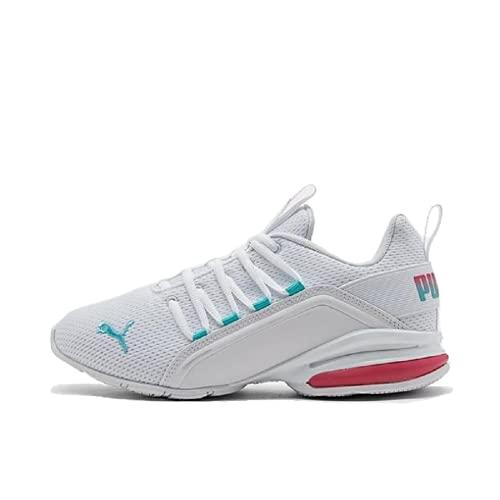 Womens Puma Axelion Bright Training Shoes, puma White/Elektro Aqua/Bright Rose, 7.5