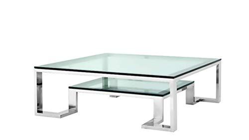 Casa Padrino Luxus Art Deco Designer Couchtisch 120 x 120 x H. 40 cm - Wohnzimmer Salon Tisch - Luxus Hotel Möbel
