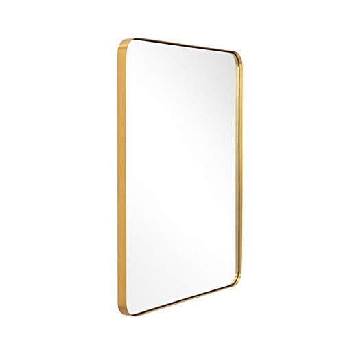 Gold Wall Mirror, 24x36 Inch Mirror for Bathroom, Brushed Brass Stainless Steel -