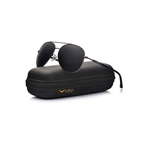 LUENX Hombre Gafas de sol Aviador polarizado con estuche - UV 400 No Espejo de protección Gris Lente Marco de metal 60mm