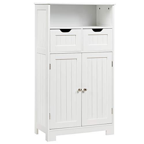 GIANTEX Szafka łazienkowa, kredens, szafka łazienkowa, komoda z szufladami, część szafy i otwarty regał, regulowana półka, szafka do przechowywania salonu (biała)