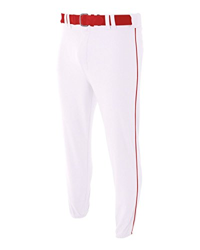 A4 Sportswear Adult Large White/Red Side Piping Elastic Bottom Baseball Pants