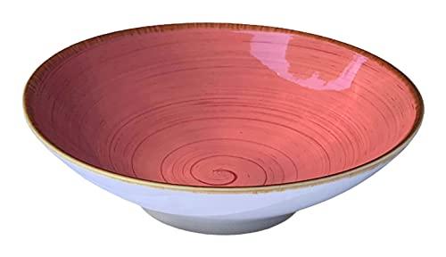Bowl Cuenco Ensalada Porcelana, Tazón uso Multifuncional para servir sopa, pasta, cuencos de Ramen, estilo vintage, pintados a mano 700 ml (Rosa)