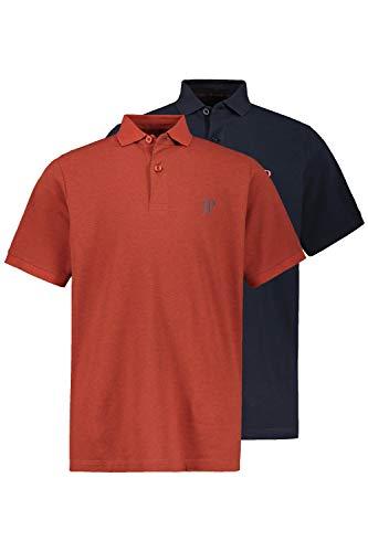 JP 1880 Herren große Größen bis 7XL, Poloshirts, 2er-Pack, Piqué, Seitenschlitze, Regular Fit, rost-Melange, Navy 3XL 704317 52-3XL