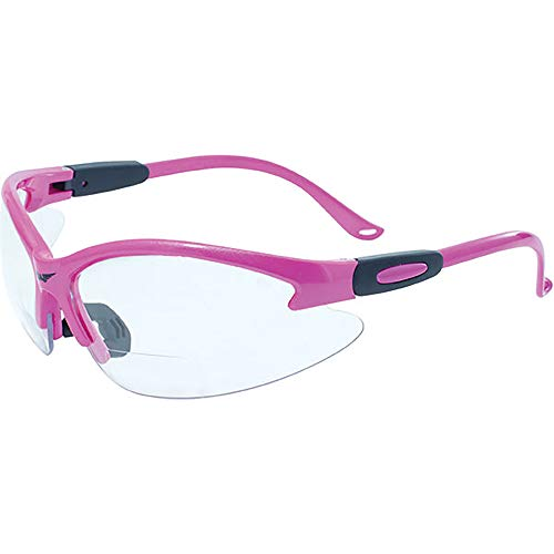 Global Vision Eyewear Cougar Bifocal Series Sunglasses with Dark Pink Nylon Frame and Clear Lab Safety Lens