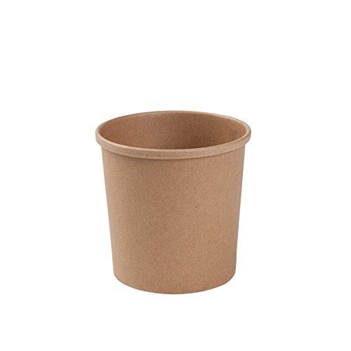 BIOZOYG Taza Bio orgánica de cartón Kraft I Taza compostable con Recubrimiento Interior de PLA Taza Sopera de Cartón To Go Taza para Helado I 25 Vasos orgánicos desechable Biodegradable 300 ml