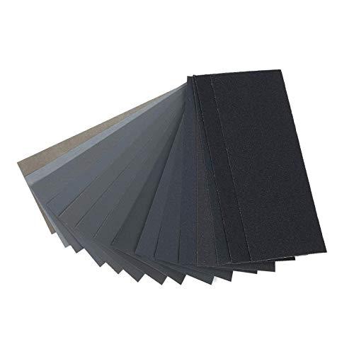 GLOBALDREAM asortyment papieru ściernego, 45 szt. papieru ściernego na mokro i suchy papier ścierny, do wykończenia mebli drewnianych, szlifowania metalu i polerowania samochodowego (od 80 do 3000, 23 x 9,6 cala)