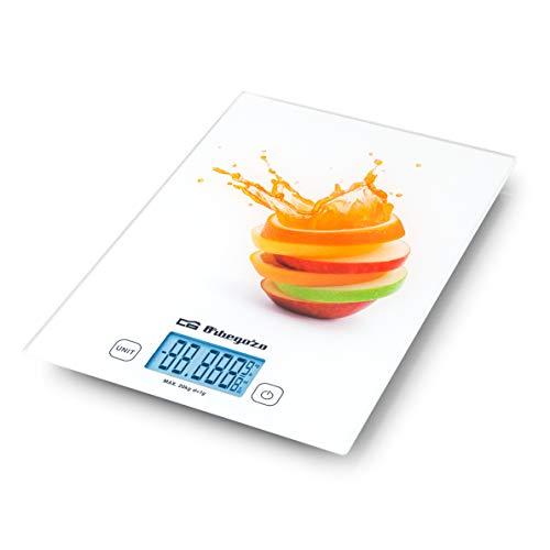 Orbegozo PC 2025 - Báscula cocina digital, superficie de cristal templado (29,5X21 cm), capacidad máxima 20 Kg, escalado 1 g, función tara, control táctil