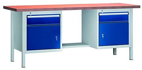 KLW Werkbank 2000x700x840 mm LxTxH mit 2 Schubladen 2 Schrankfächer Modell WS202N-2000M40-E2001
