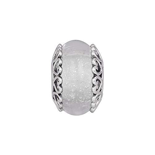 LILANG Pulsera de joyería 925 Pandora Plata de Ley Natural Iridiscente Blanco Cristal de Murano Abalorios Se Adapta a la fabricación Original Bijoux Regalos de Bricolaje para Mujeres