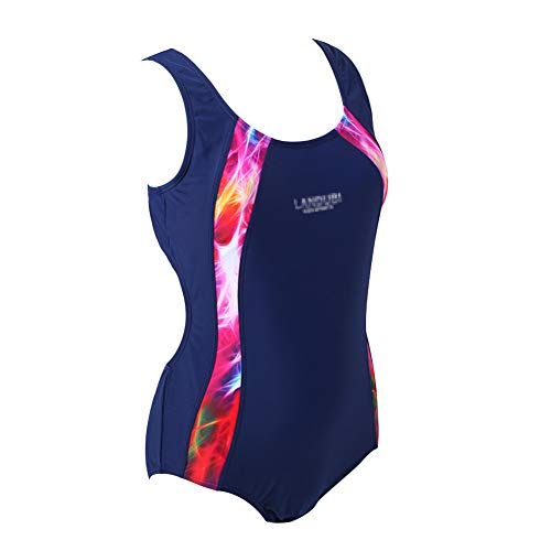 BYLIKE Girl Professional Competitive Racerback Swimsuit One-Piece Athletic Bathing Suit (152(10-12 Years Old), Nave Blue)