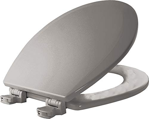 BEMIS 500EC 062 Toilet Seat with Easy Clean & Change Hinges, ROUND, Durable Enameled Wood, Ice Grey