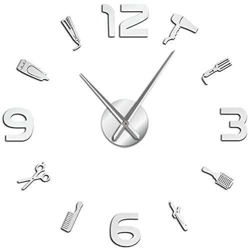 J-Clock Reloj Pared Grande DIY Moderno, Herramientas Peluquero, Pegatina Espejo 3D Metal, Relojes Grandes silenciosos, Decoraciones para el hogar, la Oficina y la Escuela