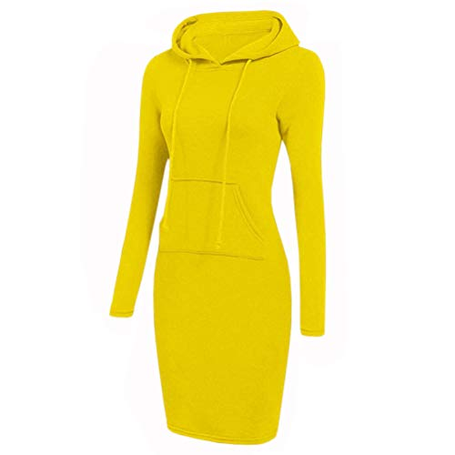SODSIM Damen Bodycon Kapuzenkleid Hoodie Sweatshirt Kleid mit Kapuze und Tasche Lange...