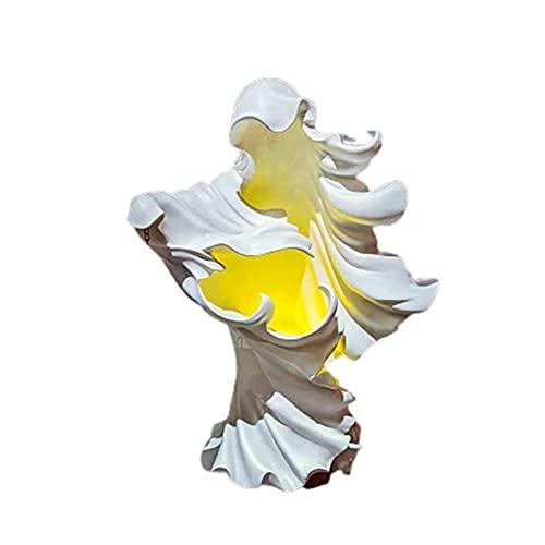 TODGAO Hell's Messenger con Linterna, Linterna de decoración de Bruja, Estatua de Fantasma Buscando luz, lámpara de decoración de Bruja Creativa de Halloween, para Interiores y Exteriores (White)