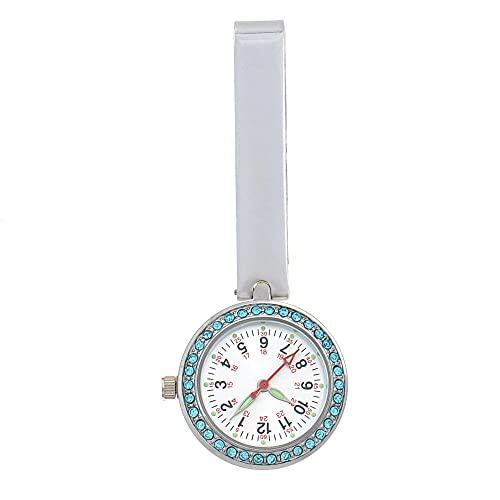 YYMY Enfermera Reloj de Bolsillo,Mesa Colgante Impermeable de Cuarzo para Enfermera, Reloj de Bolsillo Simple con luz Nocturna Tipo Clip médico, Plateado 2