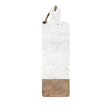 IMAX 82521 Danita Marble and Wood Cheese Board, White