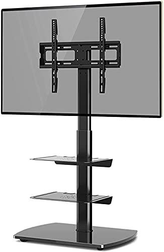 Soporte de Suelo para TV con 3 estantes de Vidrio Templado para Pantallas Planas y Curvas LCD de Plasma LED de 26 a 60 Pulgadas (Color: Negro)