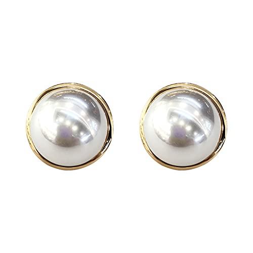 OMING Pendientes Pendientes de Perla de Las señoras con Botones de Oro y Botones Redondos Pendientes de Perlas de imitación joyería Pendientes para Mujer