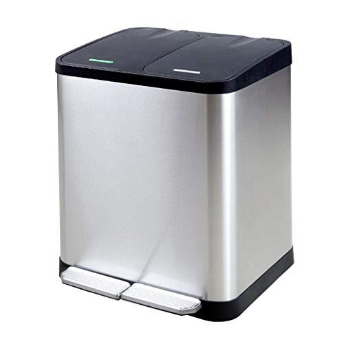 LXXTI roestvrij staal dubbele vuilnisbak 30 l keuken Duo afvalemmer scheidingssysteem pedaalemmer vuilnisbak afvalbak afvalbak