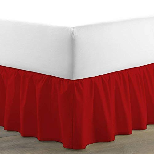 BSC Collection Ruffled Bed Skirt (Twin XL, Red) 15 Inch Drop Dust Ruffle with Platform, 100% Cotton 800 Thread Count, Wrinkle and Fade Resistant (Available in All Bed Sizes and 23 Colors) Dust Ruffle