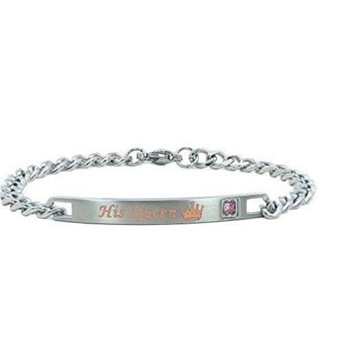 Toporchid Paar Armbänder Sein und Ihr Armband Ihren König Seine Königin Beziehung Armbänder Geschenke (Silber Königin)