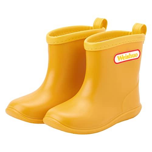 Kleinkind Baby Kinder Regen Stiefel,Soft Durable PVC Regenschuhe, Wasserdichte Rutschfeste Gummistiefel Wellington,Herstellergröße 18, Gelb