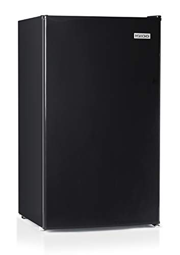 Igloo IRF32BK Single Door Compact Refrigerator with Freezer, Slide out Glass Shelf, Perfect for Homes, Offices, Dorms, 3.2 Cu.ft, Black