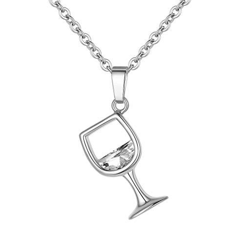 Tensay Frauen Weinglas Anhänger Zirkonia lange Kette Halskette Schmuck Charms Pensant, beste Geschenk für Weihnachten und Geburtstag (Silber)