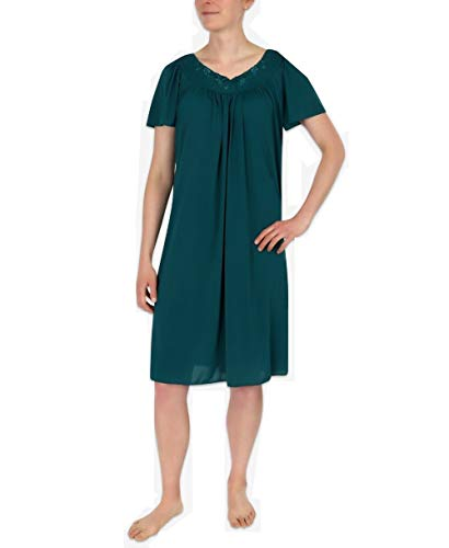 Miss Elaine Tricot Nightgown, Short Sleep Dress with Comfortable Lightweight Fabric, Flutter Sleeves (Small, Jade Green)