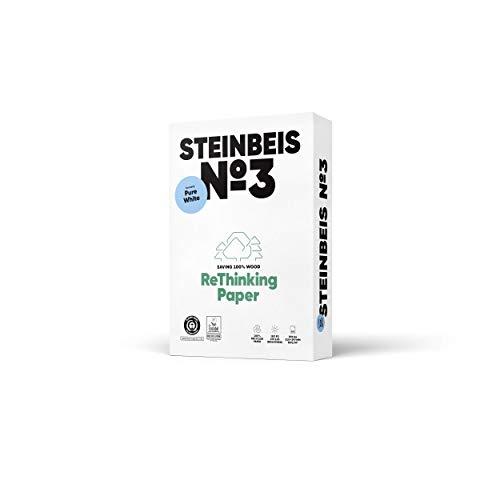 Steinbeis No. 3 ReThinkingPaper Kopier-Papier – DIN A4 Recycling-Papier 80 g/m², Drucker-Papier ISO 90 / CIE 110, Weiß, 5 x 500 Blatt