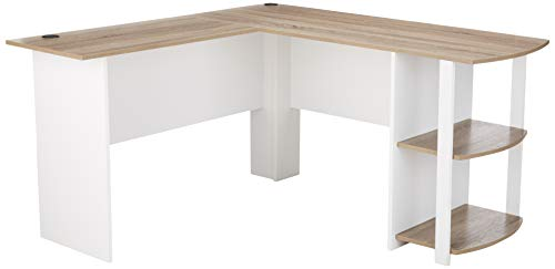 Ameriwood Home Dakota L-Shaped Desk with Bookshelves, White/Sonoma Oak