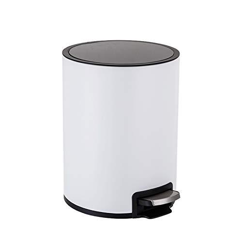 Mülleimer Trommelförmigen Papierkorb mit Deckel Haushalt Edelstahl Pedal Trash Can Mode Gestufte Mülleimer for Küche, Büro, zu Hause Abfalleimer fürs Bad (Color : White)