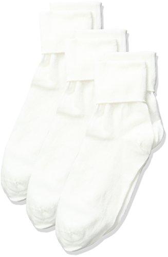 No Nonsense Women's Cotton Basic Cuff Sock, White - 3 Pair Pack, 4-10