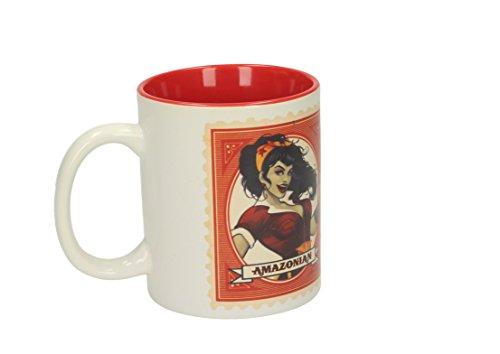 SD toys Taza con Diseño Wonder Woman Amazona, Cerámica, Blanco y Rojo, 10x14x12 cm