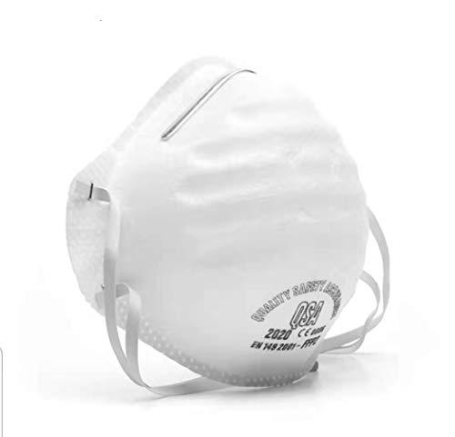 fghdf N95 Antivirenmaske FFP3 mit Atemventil, Filter 99% Bakterien und Staub,Kopfbedeckte Sicherheitsschutzmaske der Klasse FFP2 / FFP3 (weiß) (20pcs, FFP2)