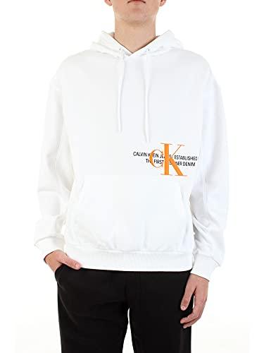 Calvin Klein Jeans Herren Sweatshirt mit Kapuze Weiss (10) M