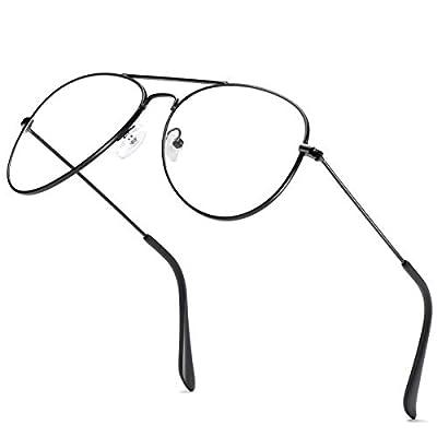 Amazon - Save 30%: AISSWZBER Clear Aviator Glasses Lens Premium Classic Metal Frame Eyegl…