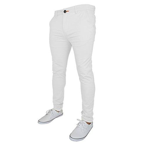 WestAce Pantalones ajustados de chino elástico para hombre, estilo informal Blanco. 32W/32L