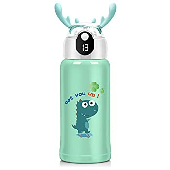 Smart Kids Water Bottle - 18 Oz 3 Lids  Straw Lid ,Vacuum Insulated Water Bottle 316 Stainless Steel Temperature Display Modern Double Walled Simple Thermo Mug Hydro Metal Canteen,Green