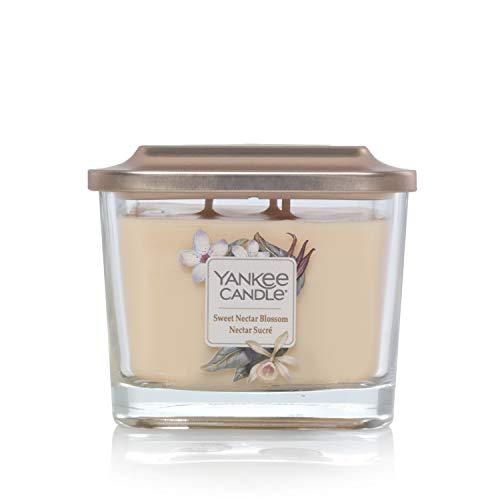 Collezione Yankee Candle Elevation con Coperchio della Piattaforma Candela Quadrata Medio a 3 Stoppini, Sweet Nectar Blossom