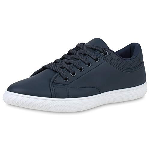 SCARPE VITA Herren Sneaker Low Turnschuhe Schnürer Leder-Optik Schuhe Basic Freizeitschuhe 190711 Dunkelblau Weiss 44
