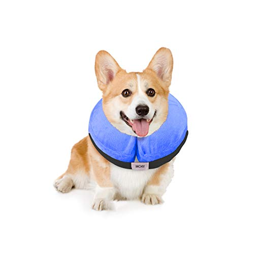 MCHY Inflatable Dog Cone,Adjustable Recovery Collar for Dogs After Surgery,Prevent from Biting & Scratching,Not Block Vision (M, Blue)