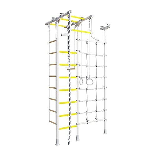 Metall Sprossenwand für Kinder Merkury 2 Schwedische Leiter + Klimmzugstange + Kletternetz silber-gelb