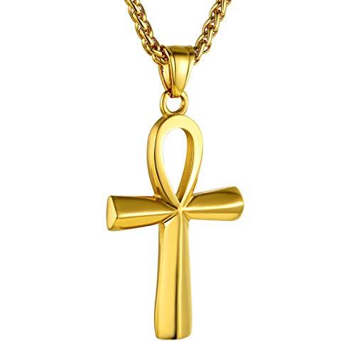 GoldChic Jewelry Cruz de Oro baño Golden Ankh Cross Egiptian Symbol Pendant Necklace for Men Women Birthday Valentine Festival Gift for familiy Friends