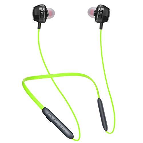 Bluetooth 5.0 Sport-KopfhöRer, HiFi Sound Laufzeit Wasserdicht Magnetic Neck Headset Hanging Sport KopfhöRer CVC6.0 Mit Mikrofon, Ultraleichte OhrhöRer Mit GeräUschunterdrüCkung Zum Joggen (Grün)
