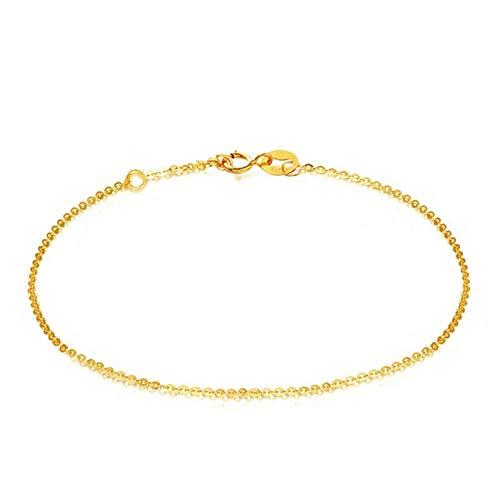 Beydodo Pulsera para Mujer de Oro,Pulsera Mujer Oro Amarillo 18 Kilates Cadena de Rolo 1.3 mm Longitud 16cm + 2cm