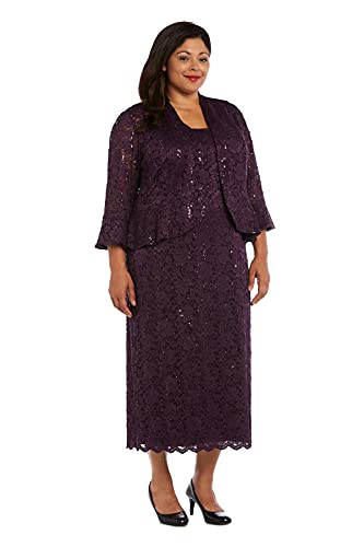 RM Richards Women's Sequin Lace Midi Dress with Jacket - Mother of The Bride Wedding Dresses (8, Plum)