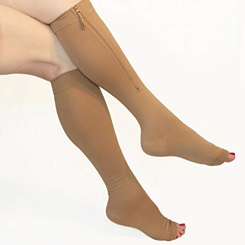 Compression Socks Zipper 20-30mmHg Knee high, Open Toe. Size M