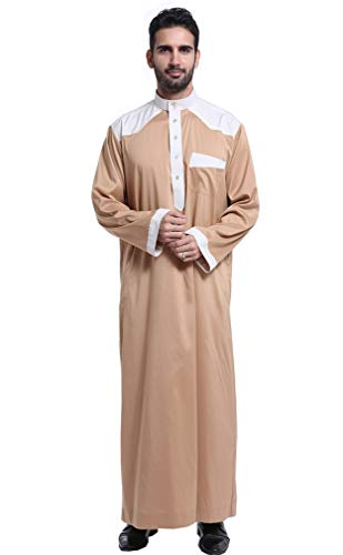 GLADTHINK Hommes Musulman Arabe Moyen Orient Col Rond Manches Longues Robe Suit